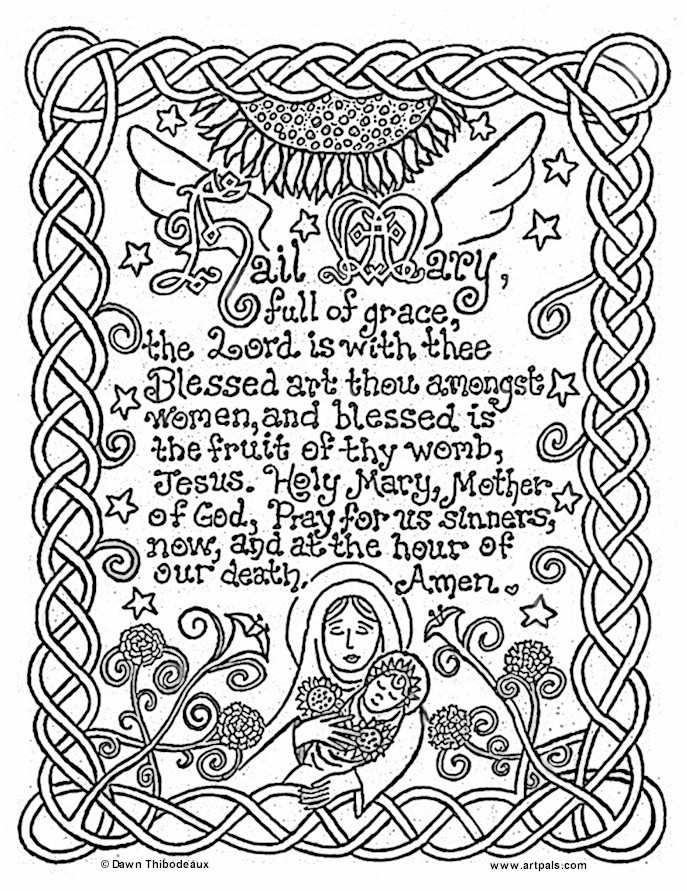 Artpals Hail Mary Prayer Coloring Sheet